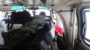 Quite some cargo - up to the roof - on the helicopter made sitting about as comfortable as on a low-fare airline